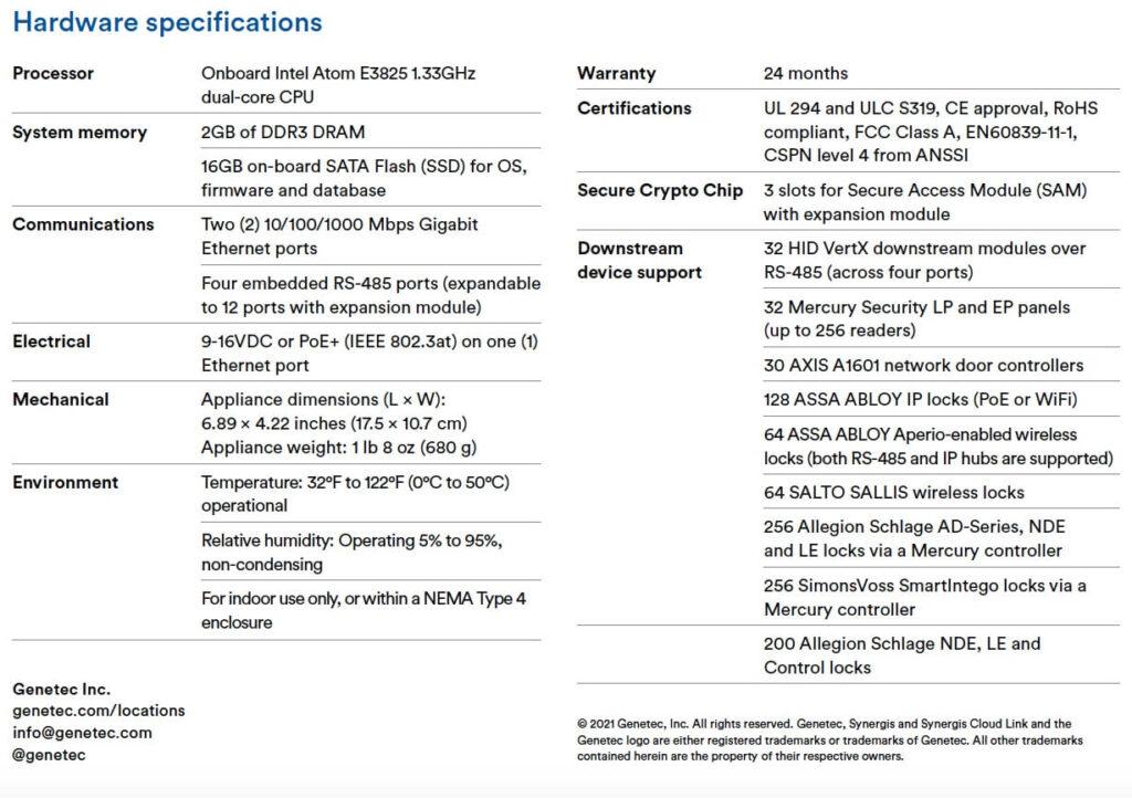 specyfikacja Synergis cloud link